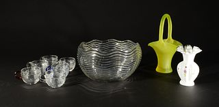 9 Duncan and Miller Glass Caribbean Clear Punch Set