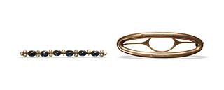 2 14K Gold Pins inc. Sapphires and Pearls