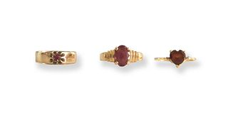 3 14K Gold Rings with Garnets