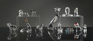 Swarovski, 12 Boxed Crystal Animals with Cats, Dogs