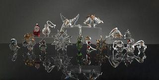Swarovski, 16 Boxed Crystal Ornaments