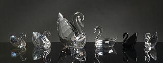 Swarovski, 4 Boxed Crystal Swans, One Signed