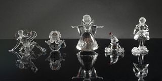 Swarovski, 5 Boxed Figures, Angel, Jester Etc.