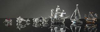 Swarovski, 6 Boxed Crystal Transportation Figures