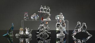 Swarovski, 8 Boxed Crystal Birds, Inc. SCS