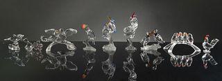 Swarovski, 9 Boxed Crystal Birds Etc.