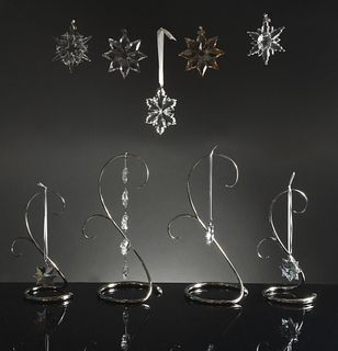Swarovski, 9 Boxed Ornaments and 4 Stands