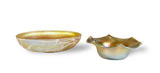 2 Durand Gold Aurene Dishes