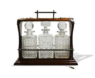 Victorian Burl Tantalus- ABCG Crystal Decanters