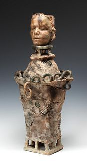 JIM LEEDY (B. 1930) MONUMENTAL CERAMIC COVERED VESSEL