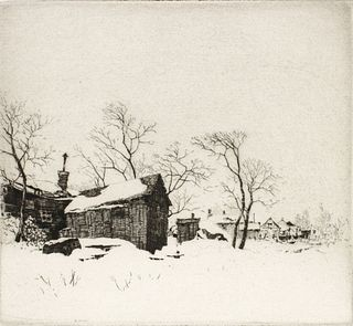 ARTHUR HALL (KANSAS 1889-1981) PENCIL SIGNED ETCHING