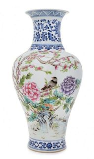* A Famille Rose and Underglazed Blue Porcelain Vase 20TH CENTURY Height 15 1/2 inches.