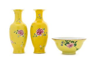 A Matched Pair of Famille Jaune Porcelain Vases LIKELY MID-LATE QING DYNASTY Height of vase 9 3/4 inches, diameter of bowl 7 5/8