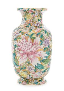 """A Famille Rose """"Millefleurs"""" Porcelain Vase Height 9 inches."""