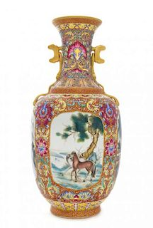 * A Famille Rose Porcelain Vase Height 14 1/2 inches.