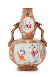 A Famille Rose Double Gourd-Form Porcelain Vase Height 7 3/8 inches.