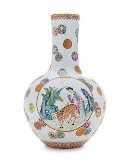 A Famille Rose Porcelain Bottle Vase Height 13 inches.