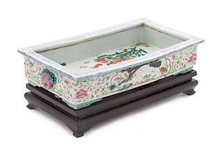 * A Famille Rose Porcelain Cachepot Width 15 7/8 x 83/4 inches.