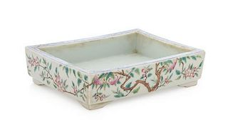 * A Famille Rose Porcelain Rectangular Cachepot Height 2 x length 7 inches.