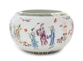 A Famille Rose Porcelain Jardiniere Diameter 11 1/2 inches.