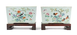 A Pair of Famille Rose Porcelain Jardinieres LIKELY MID-LATE QING DYNASTY Height of jardiniere 7 5/8 x width 13 1/4 inches.