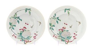* A Pair of Famille Rose Plates LIKELY REPUBLIC PERIOD OR EARLIER Diameter 8 1/4 inches.