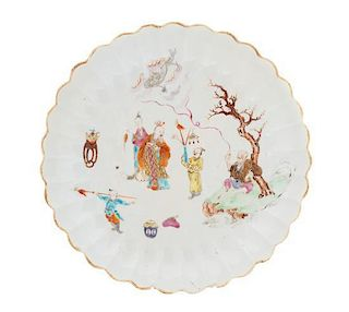 A Famille Rose Porcelain Scalloped Dish Diameter 11 1/4 inches.