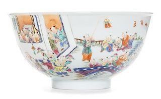 "A Famille Rose Porcelain ""Hundred Boys"" Bowl Diameter 4 5/8 inches."