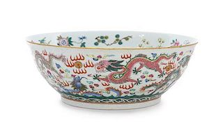 A Famille Rose Porcelain Bowl Diameter 10 3/4 inches.