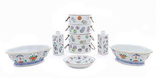 * A Group of Five Famille Rose Porcelain Articles LIKELY 19TH CENTURY Height of tallest 8 1/2 inches.