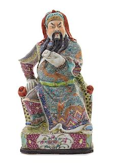 A Famille Rose Porcelain Figure of Guan Yu POSSIBLY LATE QING DYNASTY Height 11 1/2 inches.