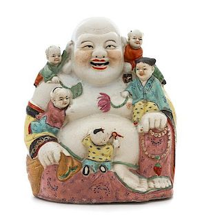 A Famille Rose Porcelain Figural Group Height 13 inches.