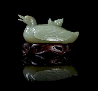 * A Celadon Jade Box and Cover Length 6 inches.