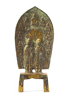 * A Gilt Bronze Figural Group Height 8 1/2 inches.