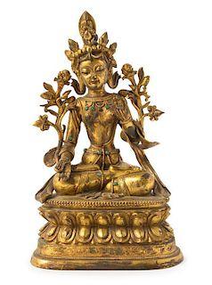 A Gilt Bronze Figure of a Bodhisattva Height 13 1/2 inches.