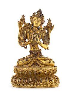 A Gilt Bronze Figure of a Bodhisattva Height 6 1/8 inches.