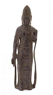 A Bronze Figure of Standing Guanyin Height 8 1/4 inches.