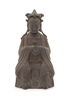 A Bronze Figure of Seated Guanyin POSSIBLY MING DYNASTY Height 11 inches.