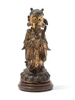 A Gilt Bronze Figure of a Female Immortal, Longnu Height 7 1/2 inches.