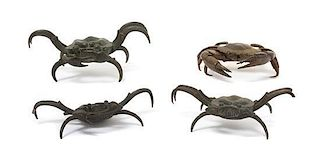 * Four Bronze Models of Crabs Length of longest 5 1/2 inches.