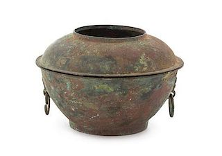 * An Archaic Bronze Vessel and Cover POSSIBLY HAN DYNASTY Diameter 6 1/4 inches.