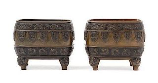 * A Pair of Bronze Censers Height 3 1/2 inches.