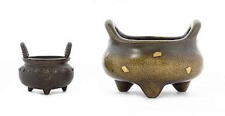 Two Bronze Censers Height of taller 4 inches.