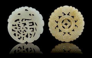 * Two Pierce Carved Jade Pendants Diameter 2 1/4 inches.
