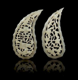 * Two Pierce Carved Jade Pendants Length 2 3/8 inches.