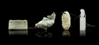 * Three Carved Jade Articles Height of tallest 2 inches.