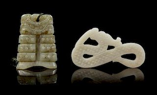 * Two Carved Jade Pendants Length of first 2 1/4 inches.