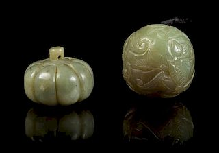 * Two Carved Jade Pebbles Width of first 1 3/8 inches.