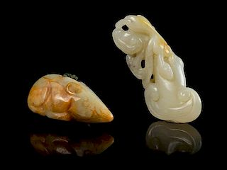 * Two Carved Jade Articles Length of longer 2 5/8 inches.