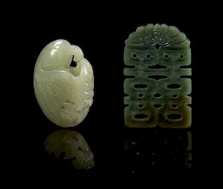 * Two Carved Jade Pendants Length of first 2 3/8 inches.